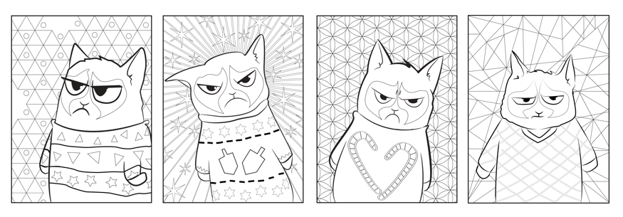 Ive Been Playing Around A Little More With My Grumpy Cat Sketches And Came Up Four Colouring Pages Fun Backgrounds