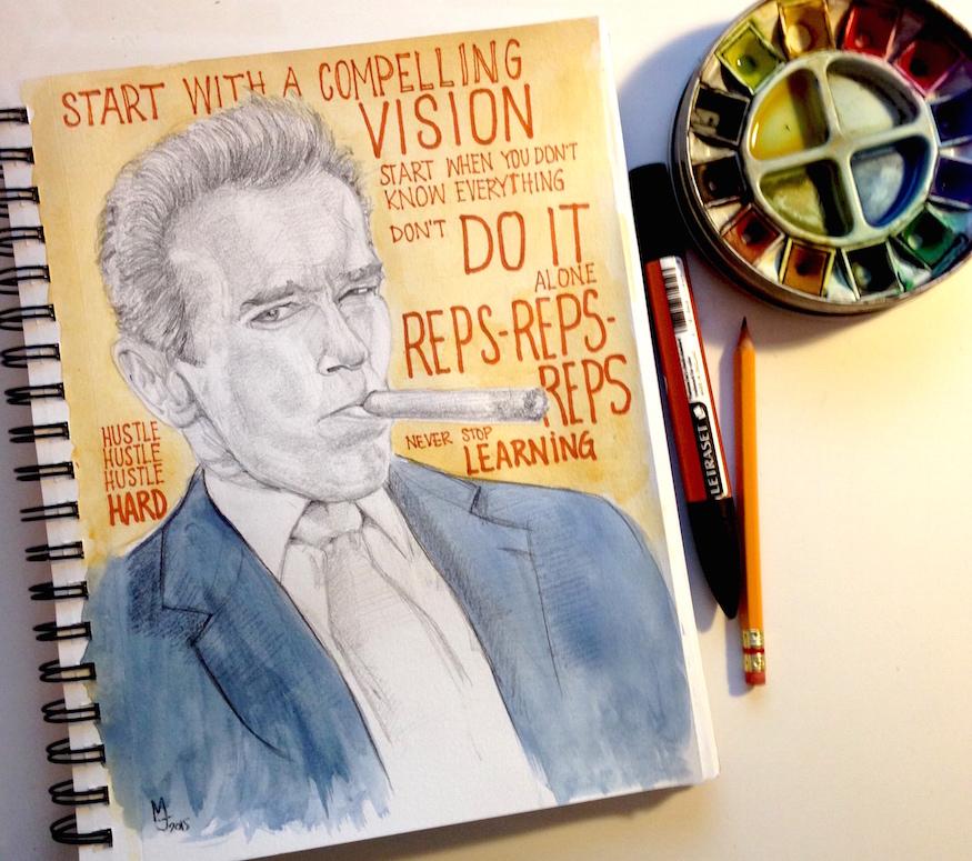 Arnold Schwarzenegger Portrait Sketchnotes Sketchbook Art Total Recall