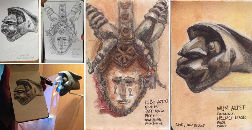 Toronto Urban Sketchers Art Gallery of Ontario AGO African art sculptures and masks