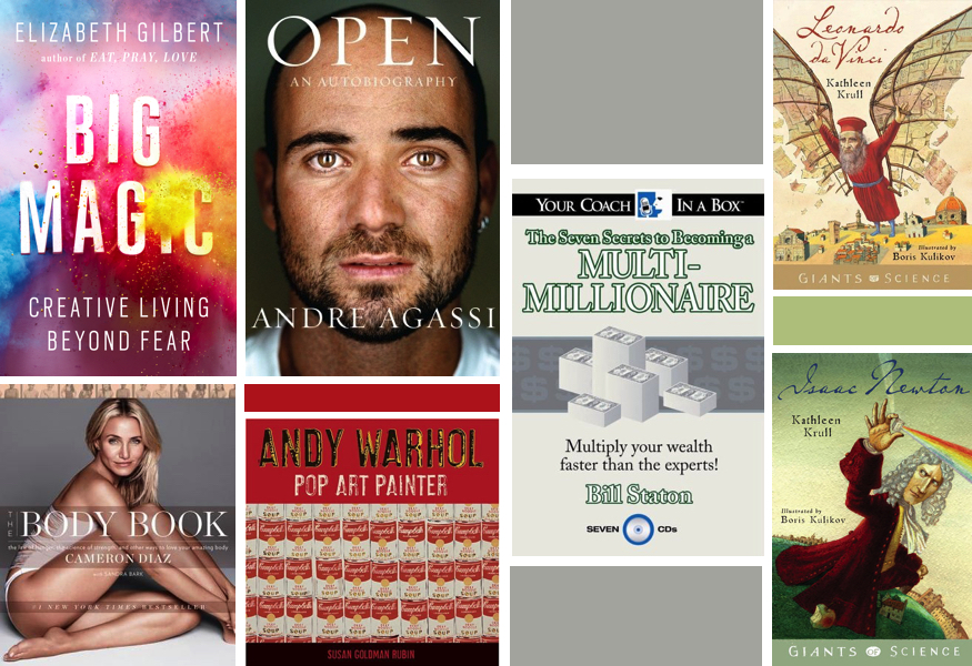 Reading Challenge 2016 Big Magic Elizabeth Gilbert Open Andre Agassi The Seven Secrets to Becoming a multi-millionaire Bill Straton the Body Book Cameron Diaz Andy Warhol Susan Goldman Rubin Leonardo DaVinci Isaac Newton Kathleen Krull