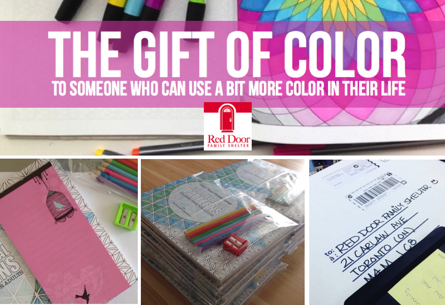 Random Act of Kindness Coloring book donation Red Door Family Shelter Toronto
