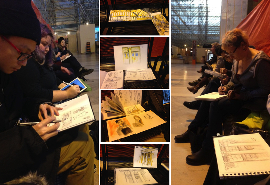 Toronto Urban Sketchers at Union Station art and construction